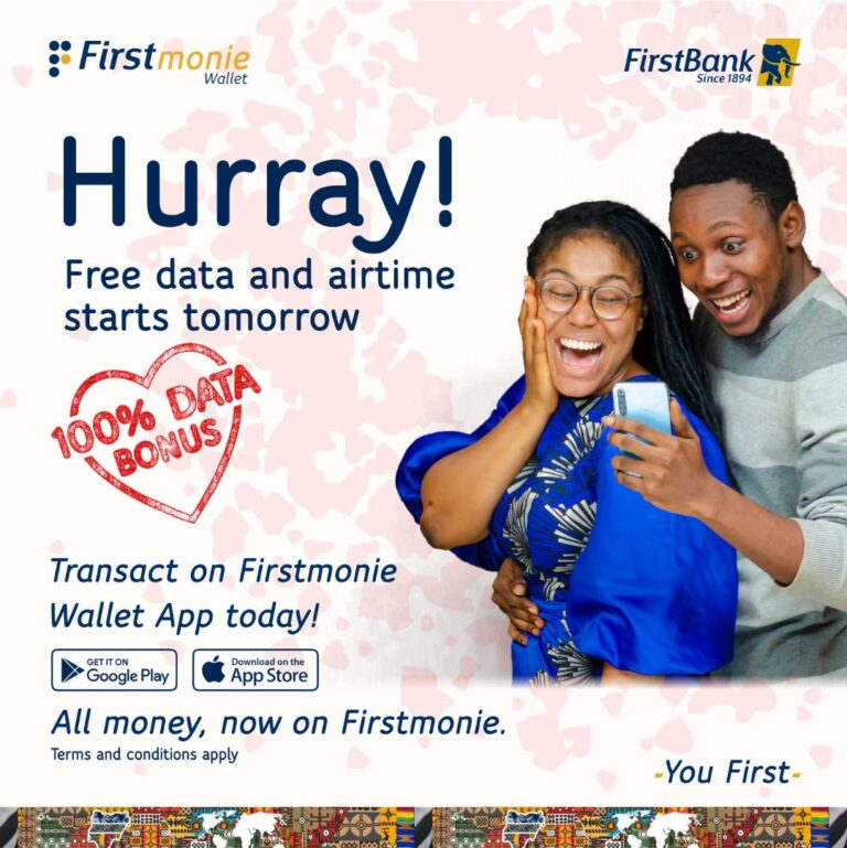 With your FirstMonie wallet, your valentine has got a boost with bonus data and airtime