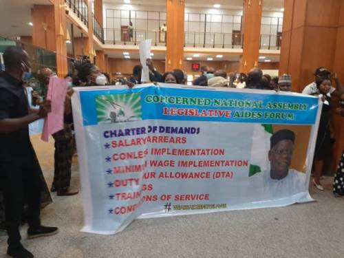 JUST IN: Legislative Aides Protest Non-payment Of Allowances